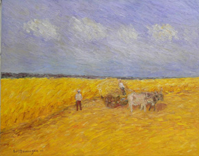 The Artist Adalberto Lütkemeyer, Carreta com bois-óleo-69x85 cm. Price USD 960