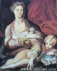 "The artist Bozhidar Vasilev, Reproduction ""Madonna with the Rose 1527-1531 Parmidianino"" Oil, 41,5 x 33cm. Price EURO 1 050"