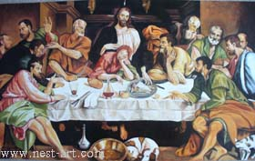 "The artist Bozhidar Vasilev,  Reproduction ""The secret dinner from von Jacopo Basano ca. 1542"",Oil, 104 x 59 cm. Price EURO 3 500"