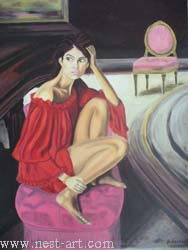 "The artist Bozhidar Vasilev,  ""The girl with the piano"", Oil, 78 x 62,7cm. Price EURO 350"