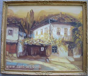 "The artist Bozhidar Vasilev,  ""Landscape from the village Bozhenzi, Reproduction of the artist Bojidar Hadjistojanov"", Oil 63 x 53cm. Price EURO 250"