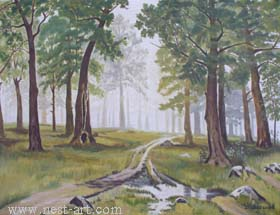 "The artist Bozhidar Vasilev,  ""Forest after rain"", Oil 66.3 x 50 cm. Price EURO 220,--"