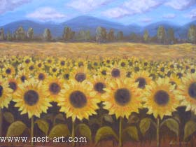 "The artist Bozhidar Vasilev,  ""Sunflowers"", Oil 64.2 x 47.7 cm. Price EURO 150,--"