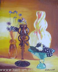 "The artist Bozhidar Vasilev,  ""Still life in brown and yellow"", Oil 33,5 x 27 cm. Price EURO 100"