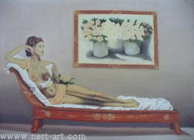 "The artist Bozhidar Vasilev,  ""The girl with the water-lily"", Oil, 84,5 x 59 cm. Price EURO 320"