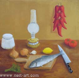 "The artist Bozhidar Vasilev,  ""Still life"", Oil 63,2 x 62.2 cm., Price EURO 250"
