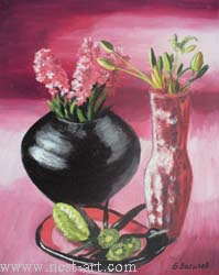 "The artist Bozhidar Vasilev,  ""Still life in purple"", Oil, 42 x 34cm. Price EURO 110"