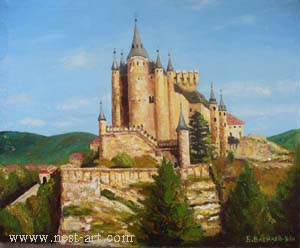 "The artist Bozhidar Vasilev,  ""Spain castle"", Oil, 66,5 x 54.2 cm. Price EURO 320"