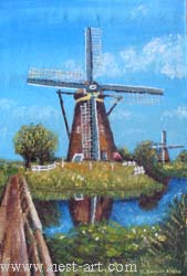 "The artist Bozhidar Vasilev,  ""Holland Mills"", Oil, 60 x 40.5 cm. Price EURO 200"