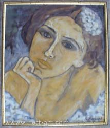 "The artist Bozhidar Vasilev,  ""Portrait of one girl"", Oil, 38 x 32 cm. Price EURO 130"