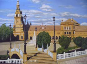 "The artist Bozhidar Vasilev,  ""Spain Square"", Oil, 65 x 43,5cm. , Price EURO 250,--"