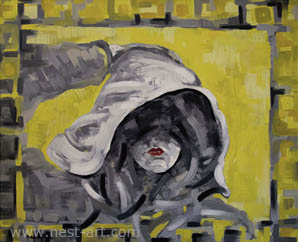 Die Malerin Margarita Dragiev, Black look with touch of Yellow, 60/50cm, oil on canvas, Price: EUR 1400